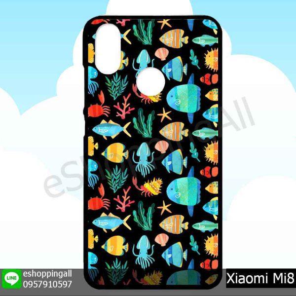MXI-007A105 Xiaomi Mi8 เคสมือถือเสี่ยวมี่ขอบยางพิมพ์ลายเคลือบใส