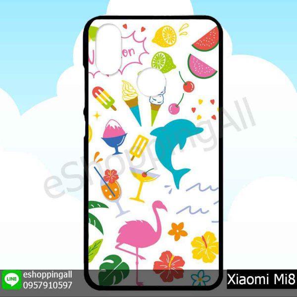 MXI-007A108 Xiaomi Mi8 เคสมือถือเสี่ยวมี่ขอบยางพิมพ์ลายเคลือบใส