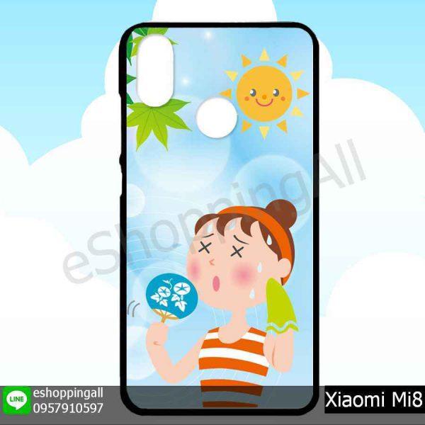 MXI-007A116 Xiaomi Mi8 เคสมือถือเสี่ยวมี่ขอบยางพิมพ์ลายเคลือบใส