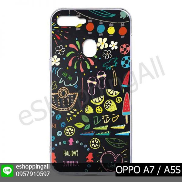 MOP-012A112 OPPO A7 / A5S เคสมือถือออปโป้แบบแข็งพิมพ์ลาย